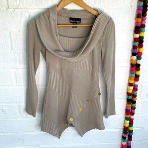 Frank Lyman Design Cowl Neck Gold Button Sweater 6